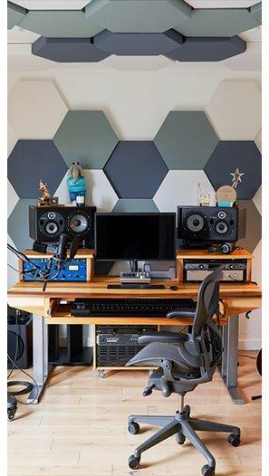 Akustik Altıgen Kumaş Kaplı Duvar Kaplama Panelleri