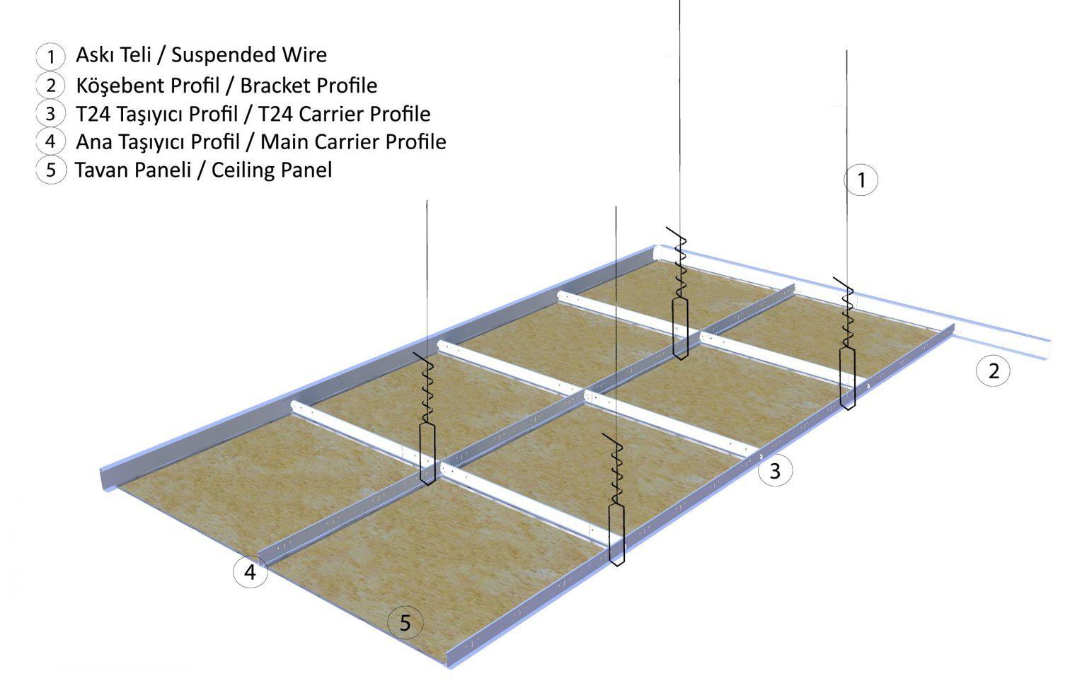 akustik asma tavan paneli uygulama