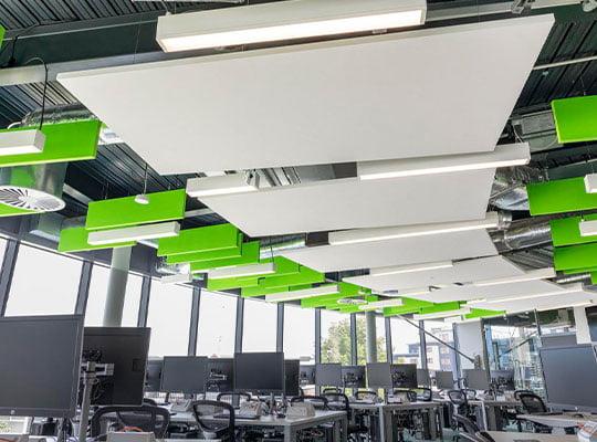 akustik kumaş kaplı tavan panelleri